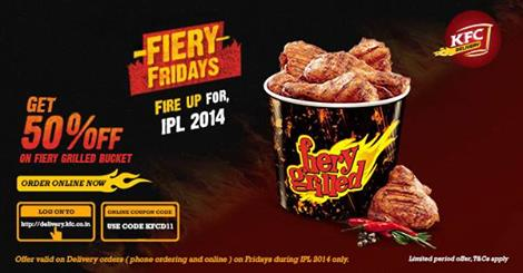 KFC:Enjoy 50% Off On A Bucket Of Our Fiery Grilled Chicken Today