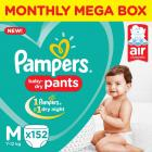 Pampers Pants Diapers Monthly Box Pack New - M  (152 Pieces)