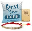 iedRibbons Rakhi for Brother with Gift Combo Printed Cushion(12 Inch X 12 Inch) with Rakhi and Roli Chawal pack