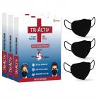 Tri-Activ 6 Layer Protective Face Masks, PM2.5 / N95 Tested as per NIOSH standard, Anti-Virus Coating, 99.5% Filtration Efficiency, Black mask Pack of 3