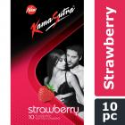 KamaSutra Strawberry Flavoured Condoms for Men | Tempting Flavour with Dotted Texture | Made with Natural Rubber Latex | Lubricated Condoms | Excite/Flavour Series | 10 Strawberry Dotted Condoms