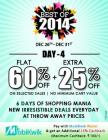 Flat 60 + extra 25% + 15% cashback Off On selected sales