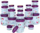 Princeware Mini Combo Plastic Jar Set, 19-Pieces, Transparent