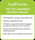 25% cashback via PayuMoney wallet in Big Bang Sale