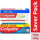 Colgate Total Advanced Health Anticavity Toothpaste - 240g with Colgate Strong Teeth Anti-Cavity Toothpaste – 300g with Free Toothbrush