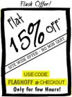 Flat 15% OFF Sitewide