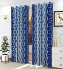 Spangle Homes Eyelet Polyster Knitting Curtains for Window/Living Room, Color- Blue, Design- Lehar (1, 4 x 5 feet -Window)