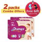 Premium Champs High Absorbent Premium Pant Style Diaper (Pack of 2)(Free 2-Pair Socks)| Premium Pant Diapers | Premium Diapers | Premium Baby Diapers | anti-rash and anti-bacterial diaper | (Medium, 56)