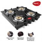 Pigeon by Stovekraft Aster 4 High Powered Brass Burner Gas Stove, Cooktop with Glass Top and Stainless Steel body, Manual Ignition (Black)