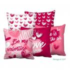 TIB® Polyester Valentine Print Quotes (Be My Valentine) Premium Cushion Cover (Pink, 16x16 inch) - Combo Set of 5