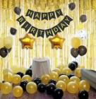 Crozier Happy Birthday Banner with 1 Golden Shiny Curtain Plus 2 Gold Star Foil Balloon with Combo pack of 20 Golden and Black metallic balloon set for Birthday Party Decoration Combo Set of 24