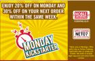 20% off on Monday & 30% off on next order within same week