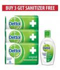 Dettol Original Soap (pack of 3) & Sanitizer FREE