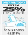 Get Extra 25% Cash Back on ACs And Coolers with Paytm, Valid Only For Today