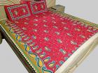 Bright Cotton Double Bed Sheet 100% Cotton Paisley Printed with Pillow Covers Red METR102-4