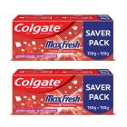 Colgate MaxFresh Toothpaste, Red Gel Paste with Menthol for Super Fresh Breath, 300g, 150g X 2 (Spicy Fresh)