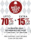 Upto 70% off + extra 15% off On selected sale