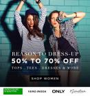 50%-70% Off + Extra 200 Off On Branded Tops.Tees,Dresses & More