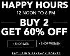 Happy Hours: Buy 2 Get 60% OFF