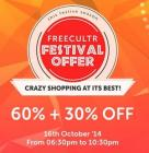 Freecultr Crazy Sale Flat 60% + 30% Extra On Orders Over Rs.2999
