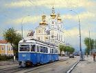 999Store Printed Old City Tram Framed Canvas Painting (24 cm x 1.5 cm x 18.01 cm)