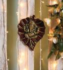 Multicolor Metal Leaf Ganesha Idol by Handecor