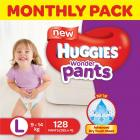 Huggies Wonder Pants Large Size Diapers Monthly Pack (128 Count)