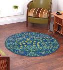 Ethnic Motif Nylon 2.3 X 2.3 Feet Machine Made Carpet by Status