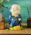 Blue Polyresin Musical Buddha Idol by Aspiration Collection