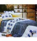 Azaani Check Design Navy & White Color Bedsheet