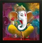 SAF Ganesh Painting Exclusive Framed Wall Art Painting (Wood, 30 cm x 3 cm x 30 cm, SANF6121C)