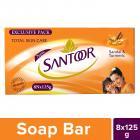 Santoor Sandal and Turmeric Soap, 125g (Pack of 8)