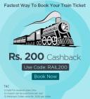 Train Ticket bookings Rs. 200 cashback on Rs. 1000