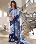 Trendz Style Striped Fashion Synthetic Chiffon Saree  (Blue, White)