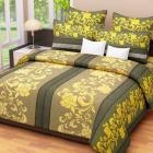 Home Candy Green And Yellow Floral Double Bed Sheet Set