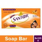 Santoor Sandal and Turmeric Soap, 125g (Pack of 8)
