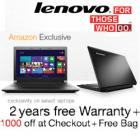 Lenovo Laptops upto 14% off + Free 3 Year Warranty + Free Bag from Rs. 22999
