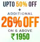 Upto 50% off + additional 26% off on Rs. 1950 & above