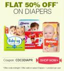 Flat 50% off on Diapers